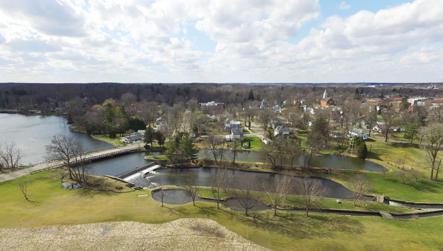 Aerial drone photo of Victory Park Waterfall by Gannon Cottone – March 18, 2016