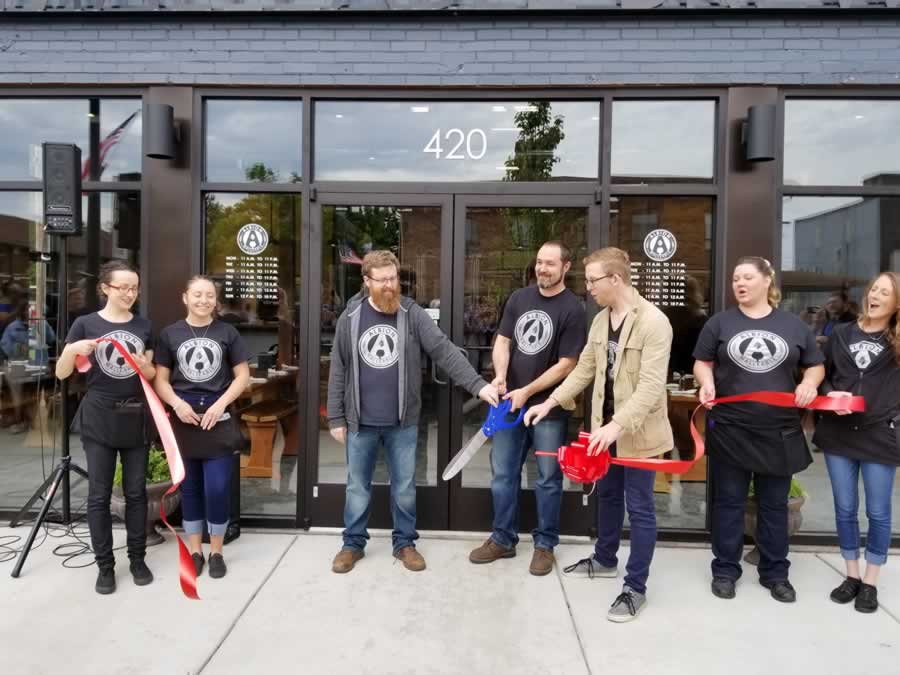 Ribbon cutting Albion Malleable Brewing Co. Albion