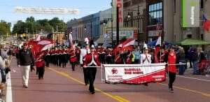The Marshall High School Marching Band gave an impressive performance during the morning parade.