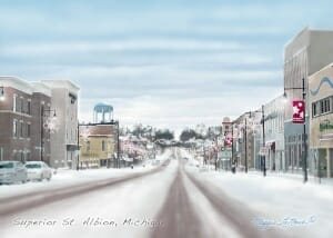 Custom art of Albion Michigan by Maggie LaNoue