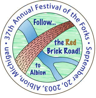 Festival of the Forks Button 2003 Albion Michigan