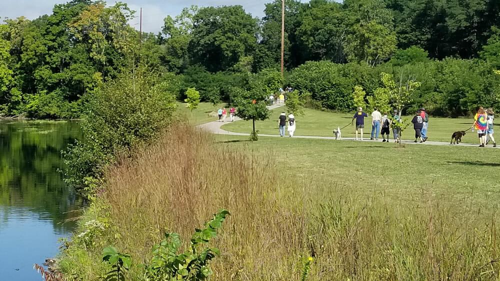 hikers by Washington Park, Albion Michigan