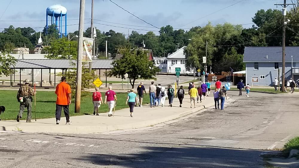 Walking near the farmers market, Albion Michigan